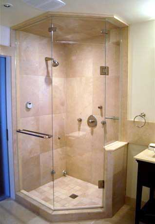 Bathroom Shower Stalls on Frameless Neo Angled Shower Enclosures Glass To Ceiling   Artistcraft