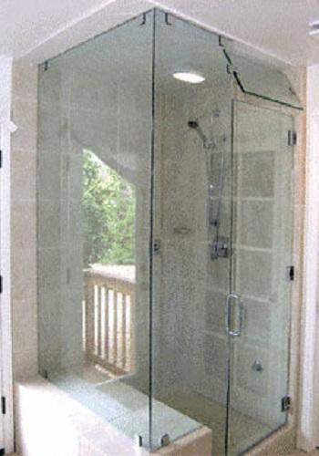 Frameless glass shower door installation - Right Angled Steam Enclosures Artistcraft Com