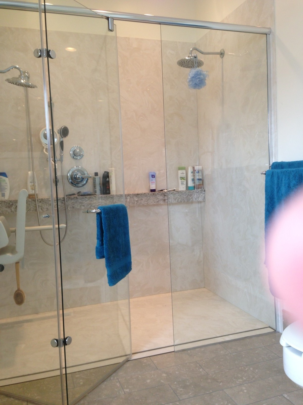 Ada shower pims ada accessible shower with folding shower for Wheelchair accessible doorways
