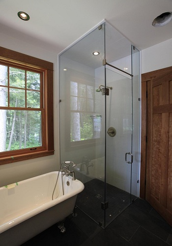 Frameless Corner Showers With Header Rails Artistcraft Com