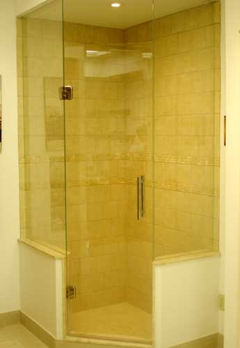 Frameless Neo Angled Shower Enclosures Glass To Ceiling