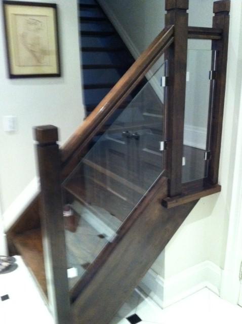 Glass showers glass railings - Glass and wood railing design ...