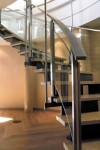 Stainless Stair Rail With Curved Glass Panels